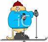 picture of a cat dressed in warm clothing on snow skis in a vector clip art illustration clipart