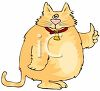 picture of a chubby cat standing with a thumbs up in a vector clip art illustration clipart