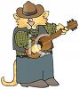 picture of a cat wearing men's clothing and playing a guitar in a vector clip art illustration clipart