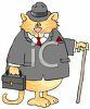 picture of a chubby cat wearing a man's suit and holding a briefcase and cane in a vector clip art illustration clipart