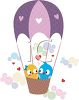 picture of two lovebirds flying in an air balloon with hearts surrounding them in a vector clip art illustration clipart