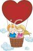 picture of a boy and girl in a heart shaped air balloon in a vector clip art illustration clipart