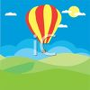 picture of an air balloon flying over grassy hills in a vector clip art illustration clipart