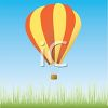 picture of an air balloon flying over a grassy field in a vector clip art illustration clipart