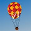 picture of a hot air balloon in flight in a vector clip art illustration clipart