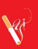 picture of a  lit cigarette on a red background in a vector clip art illustration clipart