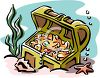 picture of a treasure chest full of gold and jewels at the bottom of the ocean in a vector clip art illustration clipart