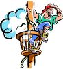 picture of a pirate at the top of a lookout watching for ships in a vector clip art illustration clipart