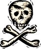 picture of a skull and crossbones in a vector clip art illustration clipart