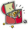 picture of a treasure chest full of gold and jewelry in a vector clip art illustration clipart