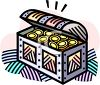 picture of a treasure chest of gold coins in a vector clip art illustration clipart