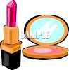 picture of a tube of lipstick and a makeup compact in a vector clip art illustration clipart
