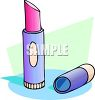 picture of a tube of lipstick with the lid off in a vector clip art illustration clipart