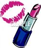 picture of a tube of lipstick and a lip print in a vector clip art illustration clipart