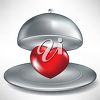 picture of a heart shape under a hot plate lid in a vector clip art illustration clipart