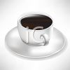 picture of a cup of coffee on a saucer in a vector clip art illustration clipart