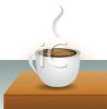 picture of a hot cup of cofffee on a table in a vector clip art illustration clipart