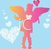 picture of an angel holding a heart on a stick in a vector clip art illustration clipart