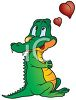 picture of an alligator thinking of his love in a vector clip art illustration clipart
