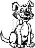 picture of a cartoon dog in black and white sitting with his tongue out in a vector clip art illustration clipart