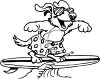 picture of a cartoon dog wearing glasses and swim trunks surfing on a surfboard in a vector clip art illustration clipart