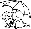 picture of a cute dog holding an umbrella in a vector clip art illustration clipart