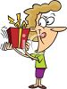 picture of a woman shaking her gift with her tongue out in a vector clip art illustration clipart
