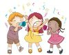 picture of three children celebrating at a party in a vector clip art illustration clipart