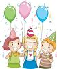 picture of three children celebrating  and holding balloons at a party in a vector clip art illustration clipart