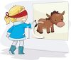 picture of a girl playing pin the tail on the donkey in a vector clip art illustration clipart