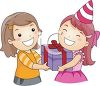 picture of a happy girl receiving a birthday gift from her happy friend in a vector clip art illustration clipart