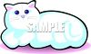 picture of a white cat lying down in a vector clip art illustration clipart