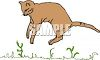 picture of a cat jumping in the grass in a vector clip art illustration clipart