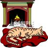 pictur eof a cat laying on a  cat bed in front of a burning fireplace in a vector clip art illustration clipart