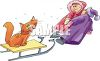 picture of two people pulling a cat on a sled in the snow in a vector clip art illustration clipart