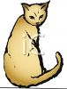 picture of a cat sitting looking over it's shoulder in a vector clip art illustration clipart