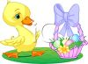 picture of a baby chicken standing on a patch of grass with a basket of colored eggs in a vector clip art illustration clipart