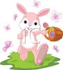 picture of a bunny rabbit walking and carrying a basket of easter eggs with butterflies surrounding him in a vector clip art illustration clipart