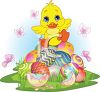 picture of a baby chick sitting on top of a pile of easter eggs surrounded by butterflies in a vector clip art illustration clipart