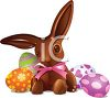 picture of a stuffed rabbit and colored easter eggs in a vector clip art illustration clipart