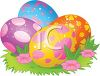 picture of colorful easter eggs in a patch of grass in a vector clip art illustration clipart