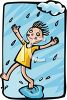 clip art illustration of a girl standing in the rain with her foot in a puddle of water in a vector clip art illustration clipart