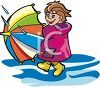 picture of a girl holding an umbrella and walking through a puddle of water in a vector clip art illustration clipart