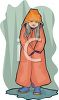 picture of a girl wearing a rain jacket standing in a puddle of water in a vector clip art illustration clipart