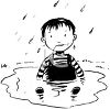 picture of a young boy sitting in a puddle of water in a vector clip art illustration clipart