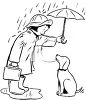 picture of a girl standing in a puddle of water in the rain holding an umbrella over herself and her dog in a vector clip art illustration clipart