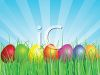 picture of a row of colored easter eggs in the grass in a vector clip art illustration clipart