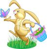 picture of a bunny rabbit skipping through the grass with a butterfly and  holding a basket of easter eggs  clipart