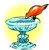 picture of a bird drinking from a bird bath in vector clip art illustration clipart
