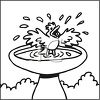 picture of a bird cheerfully taking a bath in a bird bath in a vector clip art illustration clipart